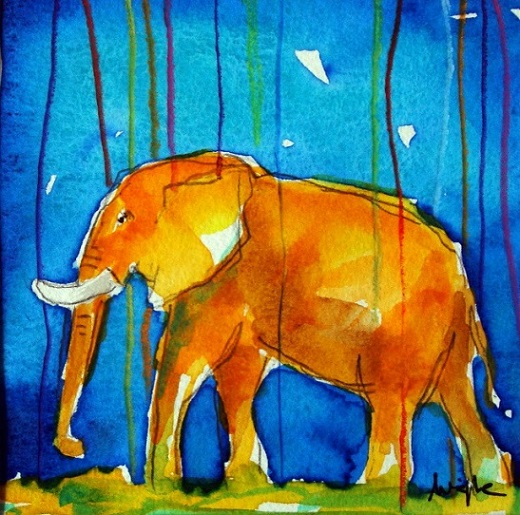 blue series - elefant (9x9 cm)